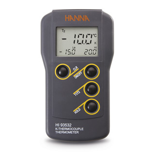Thermometre compact etanche a thermocouple type K  C/ F  2 canaux  min/max  HOLD  T1/T2  coffret et piles